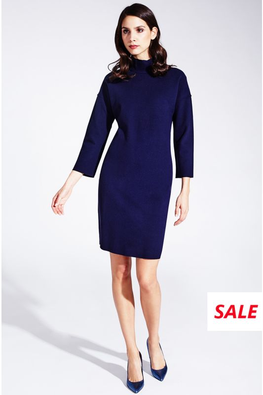 Dunkelblaues Kleid mit Stehkragen aus Viskose