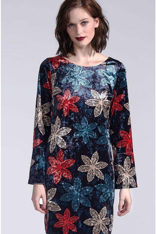 Festliches Tunika Kleid mit Arm und Blumenmuster
