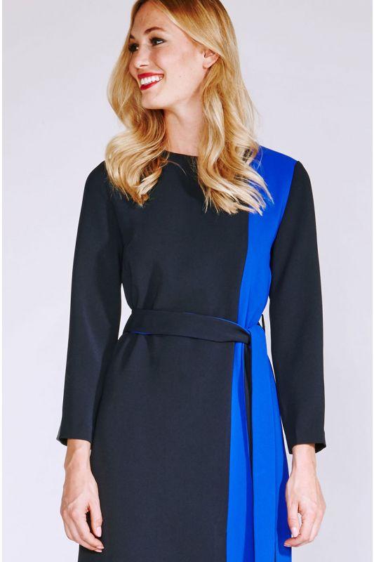 Blaues Businesskleid mit Langarm