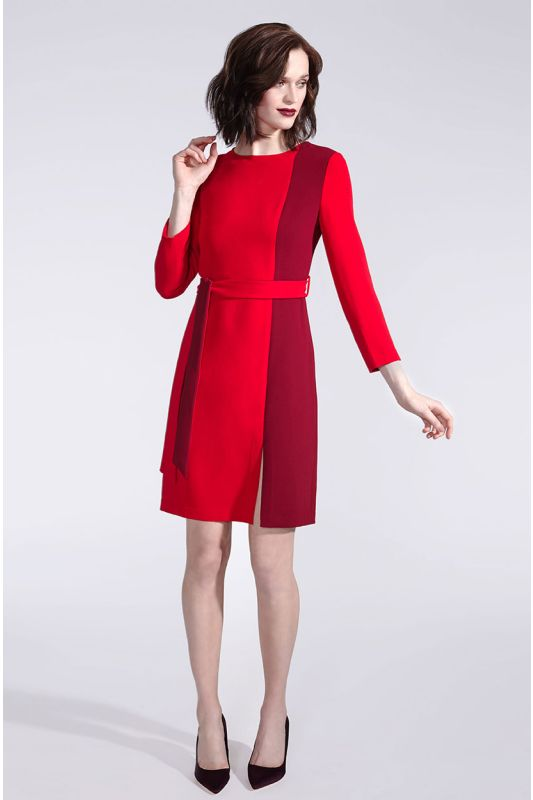 Rotes Businesskleid mit Langarm