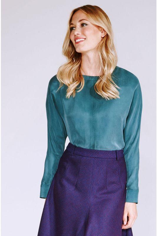 Natürliche Cupro-Bluse in Grün