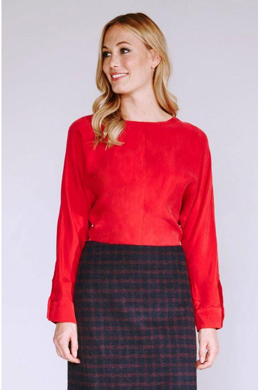 Natürliche Cupro-Bluse in Rot