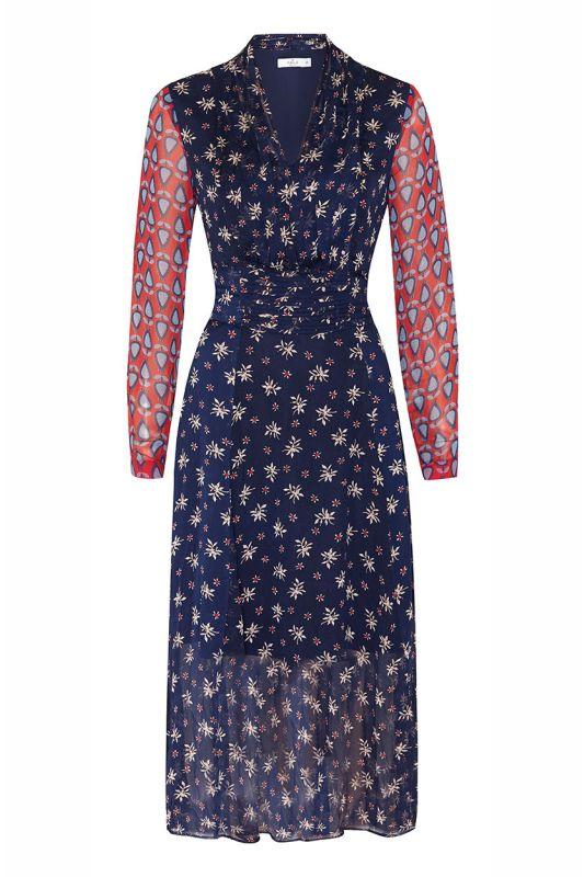 Langes Chiffon-Kleid mit Arm