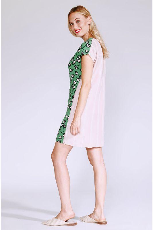 Zweifarbiges Tunika-Kleid mit Muster