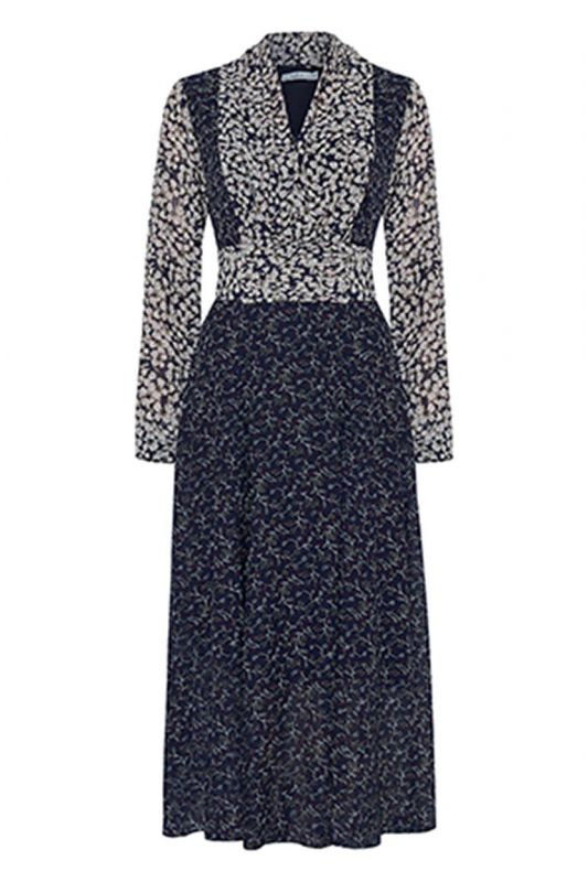 Midi Chiffon-Kleid mit Arm in Blau-Crème