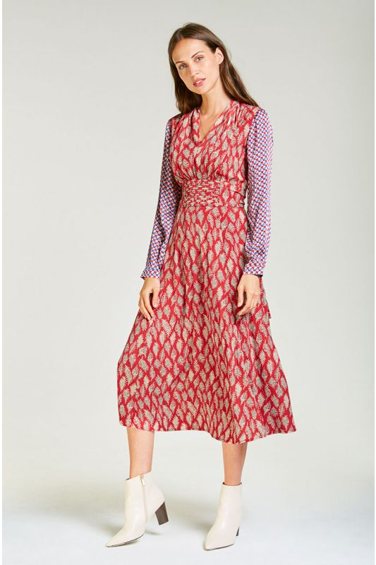 Midi Chiffon-Kleid mit Arm in Rot gemustert