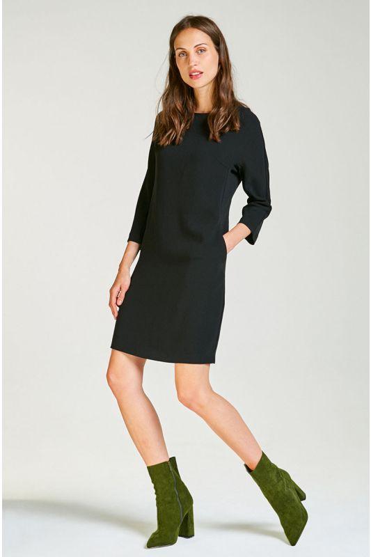 Schwarzes Tunika-Kleid mit Taschen