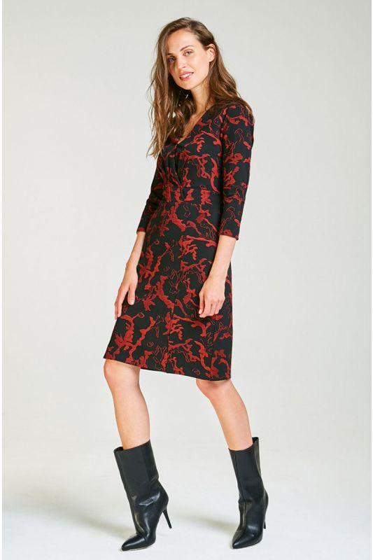 Elegantes schwarzes Jersey-Kleid mit Muster