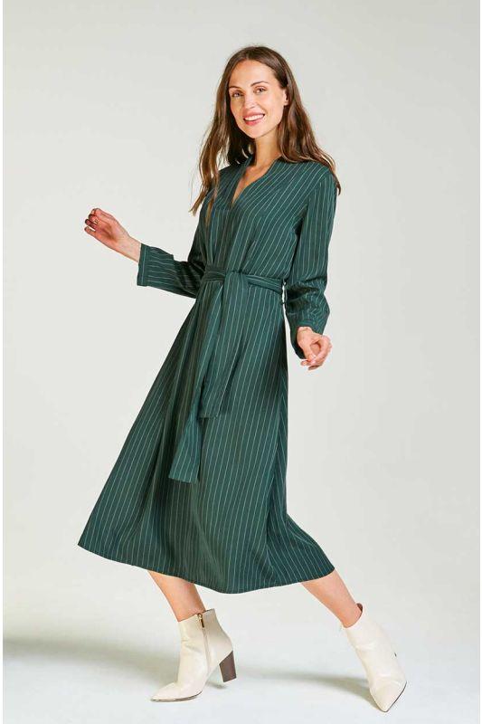 Tencel Midi-Kleid mit Nadelstreifen