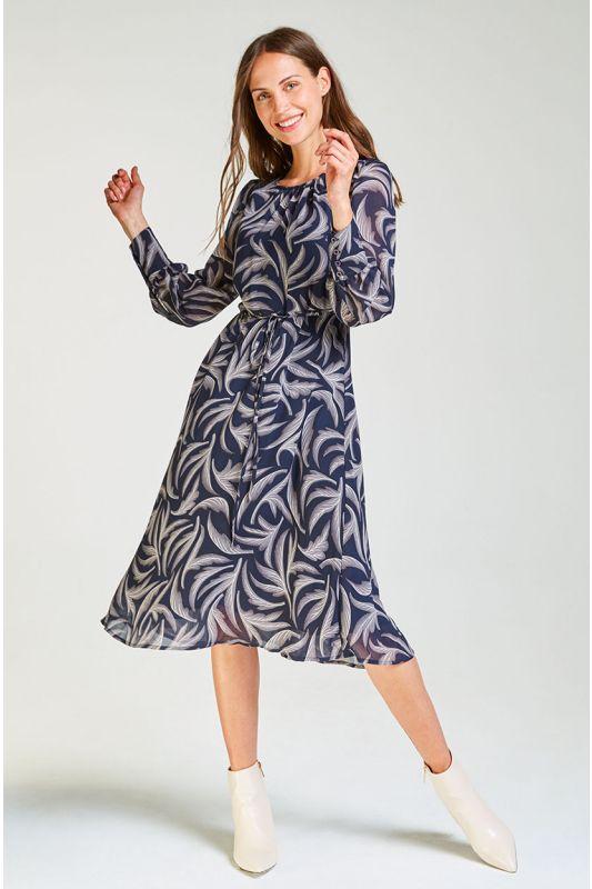 Langarm Midi-Kleid mit Muster