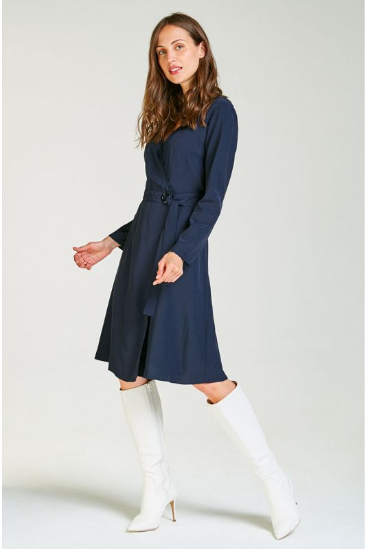Wickelkleid in dunkelblau mit Arm