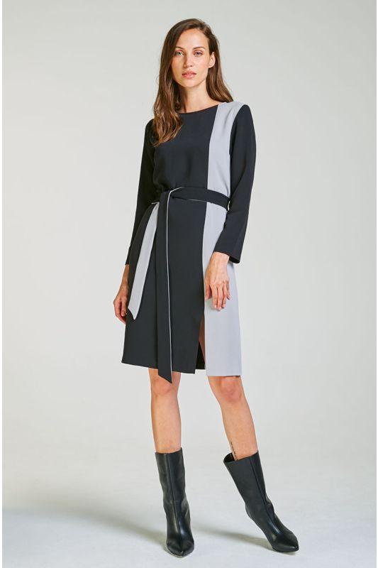 Schwarz-graues Businesskleid mit Colorblocking