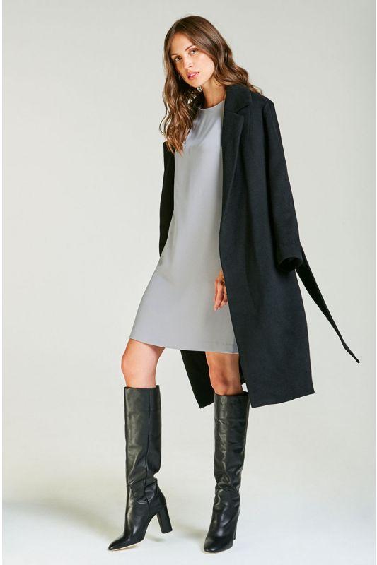 Klassischer Wollmantel mit Gürtel in schwarz