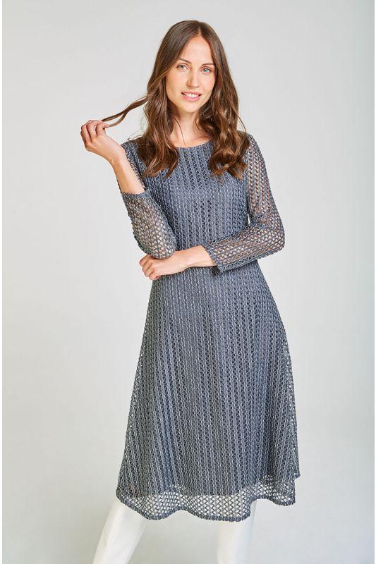 Elegantes Midi-Kleid in Grau