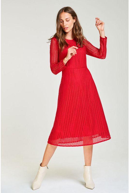 Auffälliges Midi-Kleid aus Spitze in strahlendem Rot