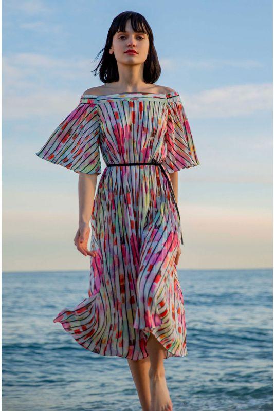 Pliseé-Kleid mit Aquarell-Muster