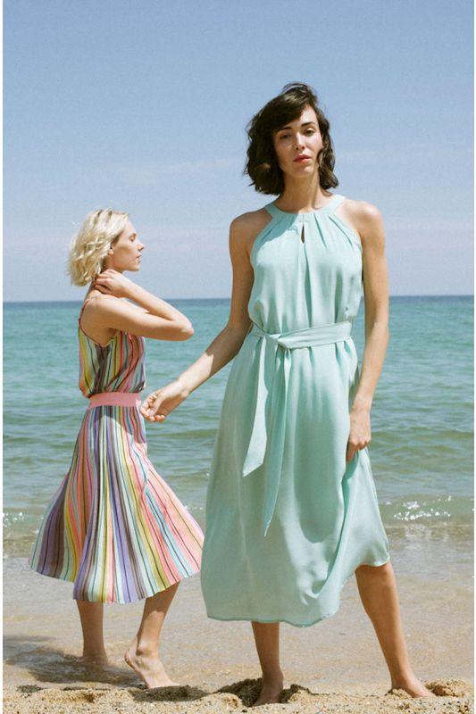 Neckholder Seidenkleid in pastell Grün