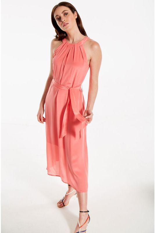 Neckholder Seidenkleid in Rose