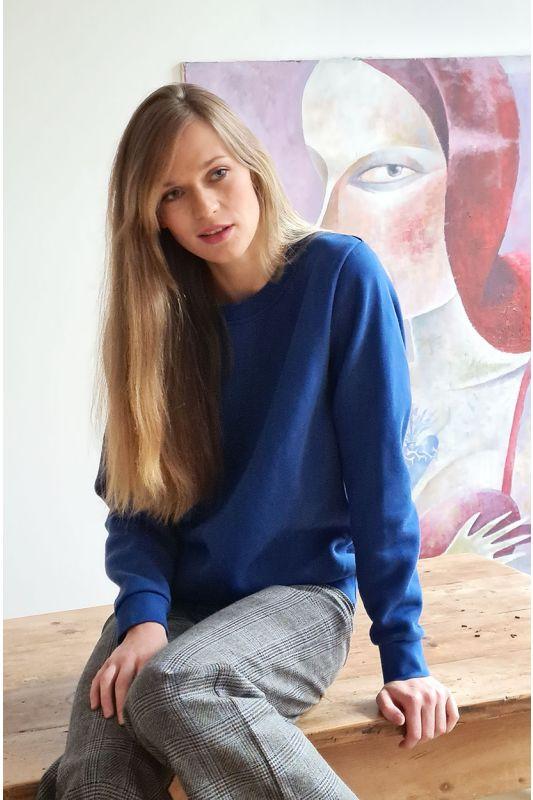 Sweatshirt aus GOTS zertifizierter Bio-Baumwolle in Ocean Blau Farbe
