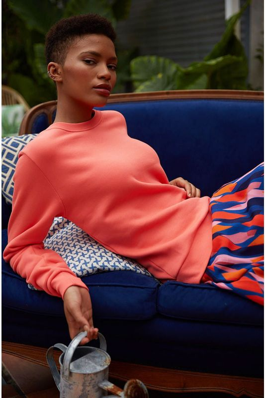 Sweatshirt aus GOTS zertifizierter Bio-Baumwolle in Koralle