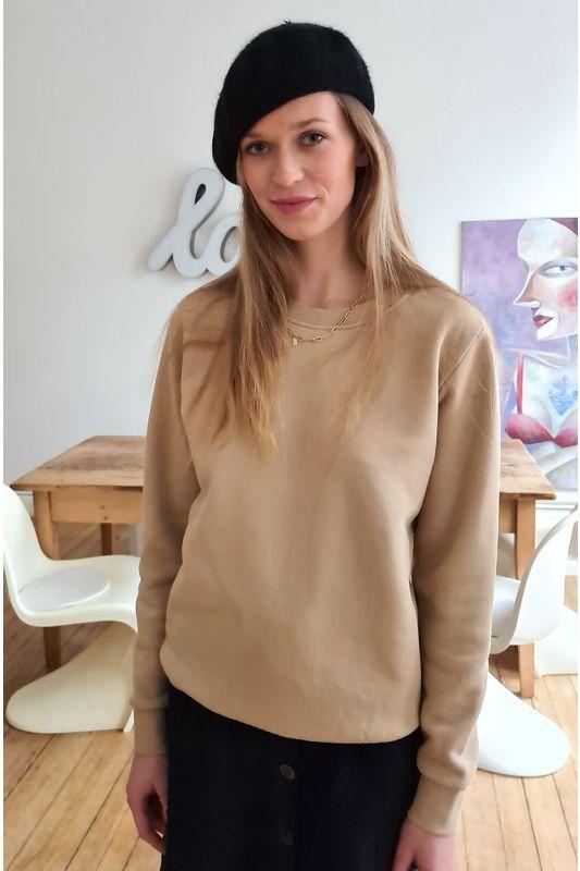 Sweatshirt aus GOTS zertifizierter Bio-Baumwolle in Sand Farbe
