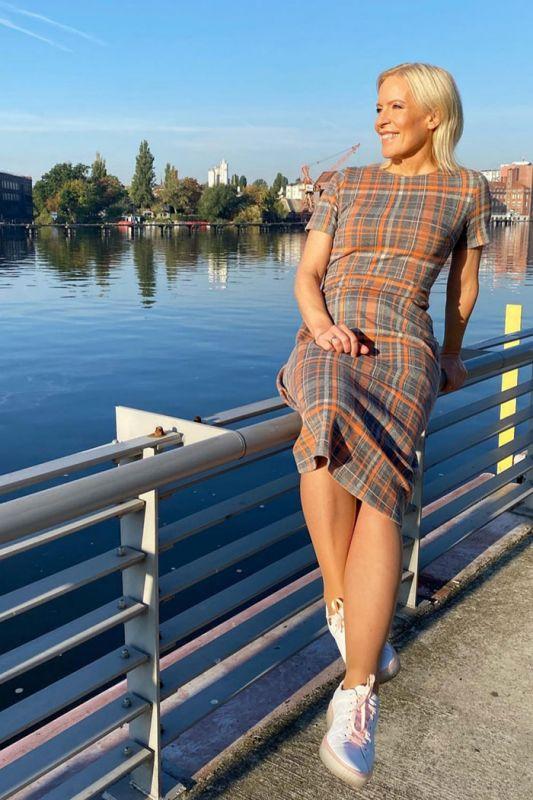Midi-Kleid mit Glencheck-Muster