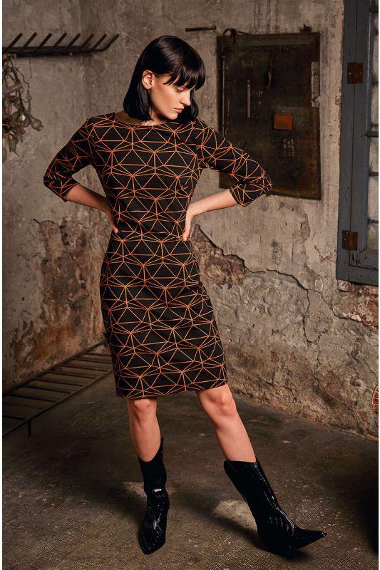 Etui-Jerseykleid mit  Muster