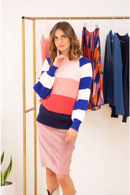 Strick-Pullover mit Streifen