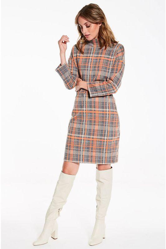 Kariertes Langarm-Kleid mit Rollkragen