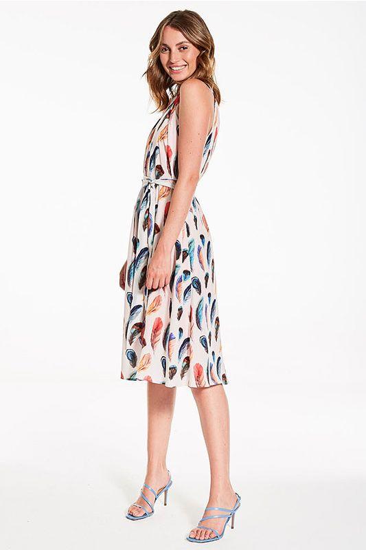Neckholder Kleid mit Feder Muster