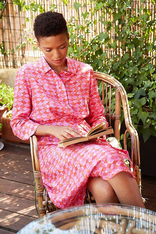 Blusenkleid in Pink Muster