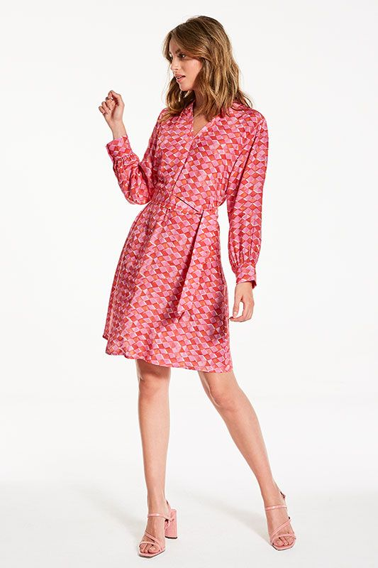 Kleid mit V-neck in Pink Print