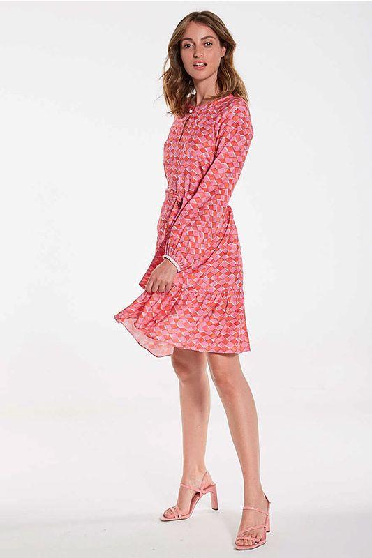 Kleid in Pink Muster mit Volant-Saum
