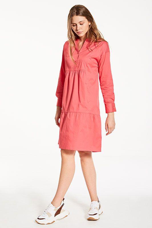 Tunikakleid in Pink mit Langarm