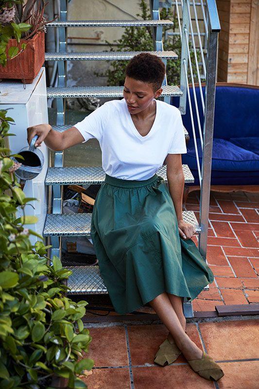 Rock aus Baumwolle mit Taschen in Olivgrün