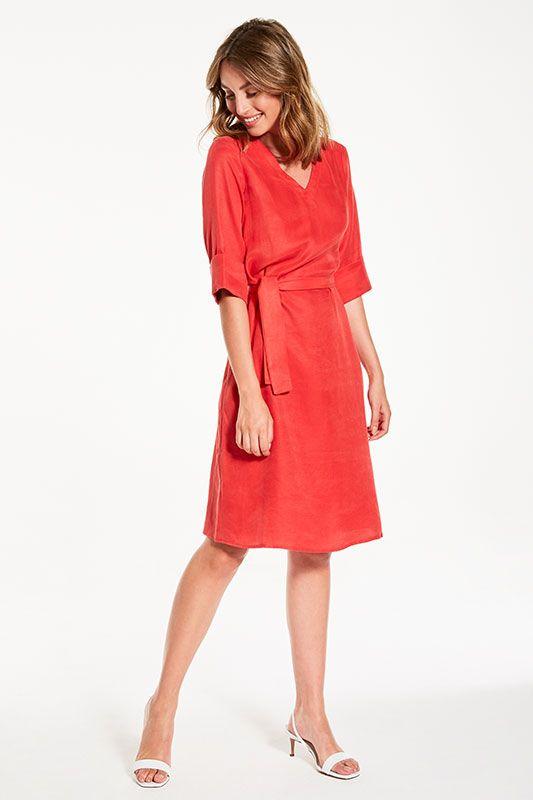 Kleid V-Ausschnitt mit breitem Armaufschlag in Rot