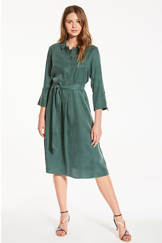 Blusenkleid mit aufschlagbarem Arm in Grün