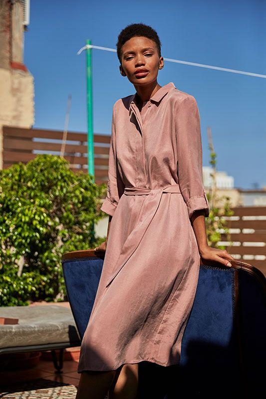 Blusenkleid mit aufschlagbarem Arm in Rosa