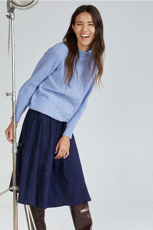 Pullover mit Zopfmuster in Himmelblau