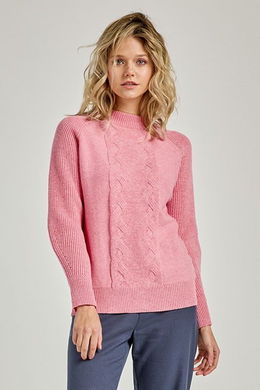 Pullover mit Zopfmuster in Rosa