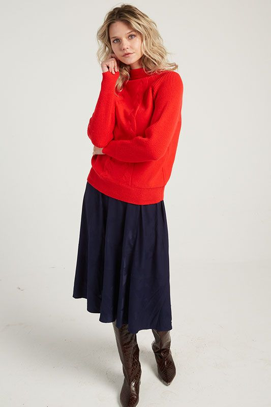 Pullover mit Zopfmuster in Rot
