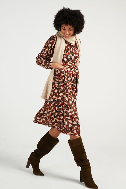 Kleid Ginkgo-Print mit Taschen