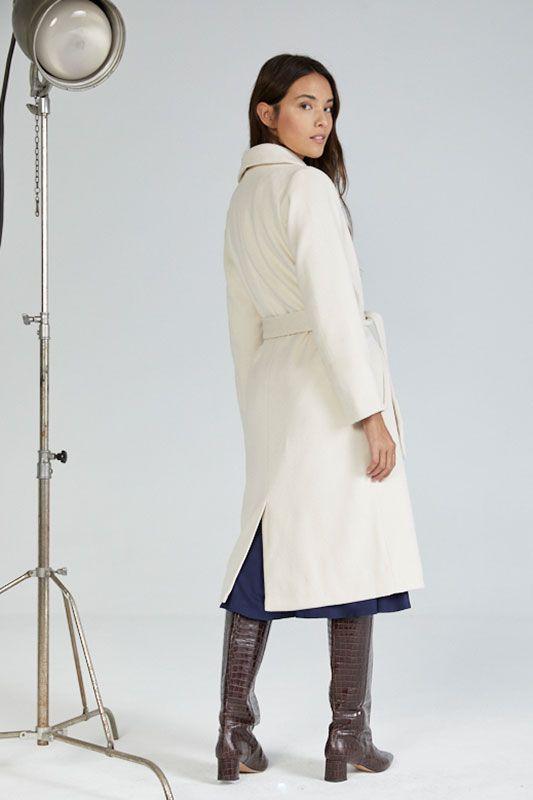 Mantel mit Kragen in Ecru / Cream