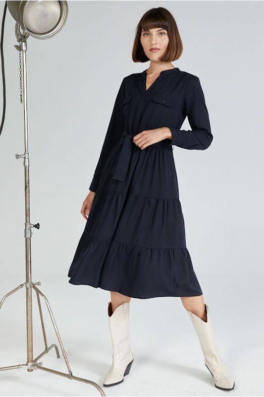 Langarm-Kleid in Dunkelblau