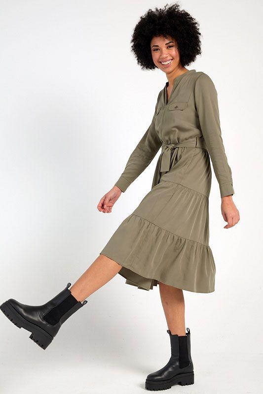 Langarm-Kleid in Grün