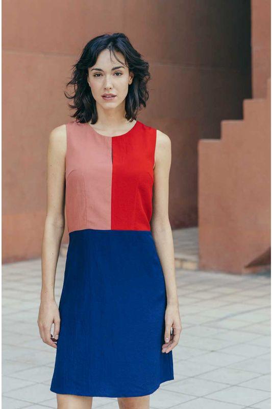 Leichtes Sommerkleid mit Colorblocking