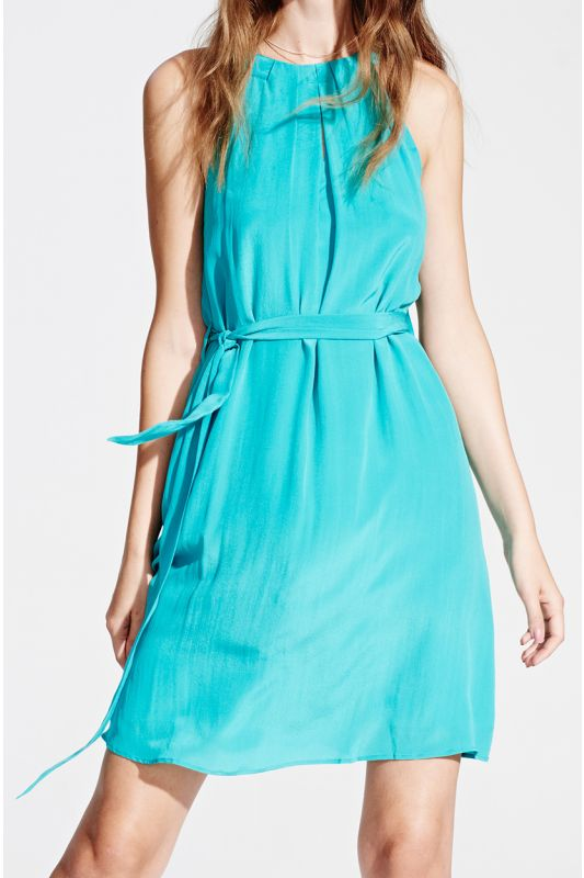Neckholder-Seidenkleid in soft turquoise