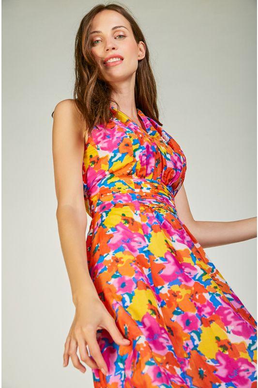 Sommerkleid mit leuchtendem Blumenmuster und Band