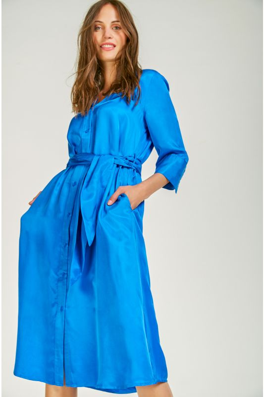 Klassisches Blusenkleid mit Seidenoptik