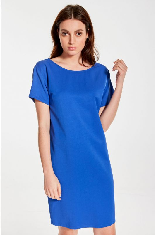 Kleid mit kurzem Arm in Kobaltblau